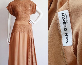 Vintage 1940s | Large | Apricot silk crepe gown with thousands of beads and sequins from Nan Duskin