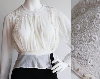 Vintage antique 1910s - 1920s | XS/S | cotton batiste blouse