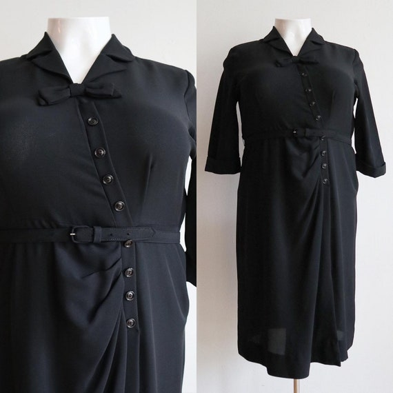 Vintage Volup | 2XL | 1940s inky black rayon jerse