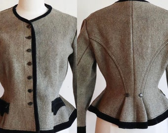 Antique 1800s -1900s | Medium | fitted wool jacket with peplum and velvet trim