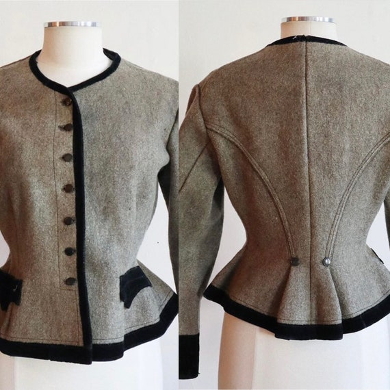 Antique 1800s -1900s | Medium | fitted wool jacket