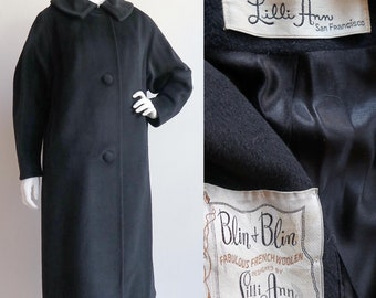 Vintage 1950s   up to Large   designer Lilli Ann, charcoal grey mohair coat
