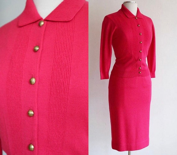 Vintage 1950's | hot pink Jantzen 2 piece sweater