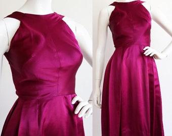 Vintage 1950s | XS | Beautiful purple silk satin cocktail dress by Kasper of Arnold Fox