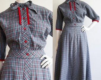 Vintage 1940s - 1950s | S-M | Darling cotton duck plaid ensemble!