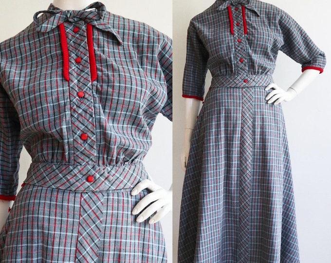 Featured listing image: Vintage 1940s - 1950s | S-M | Darling cotton duck plaid ensemble!