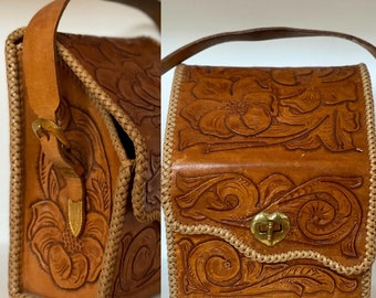 Vintage 1960's   Tooled leather handbag/crossbody satchel
