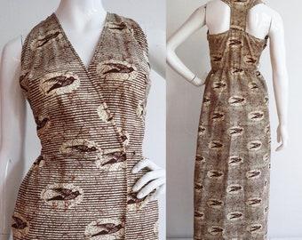 Vintage 1970s | Medium | racer back cotton maxi wrap dress. Bird print.