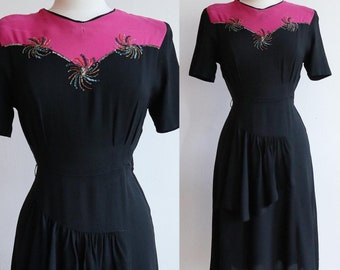 Vintage 1940s   Medium   AS IS colour block rayon crepe dress with beaded and sequinned neckline
