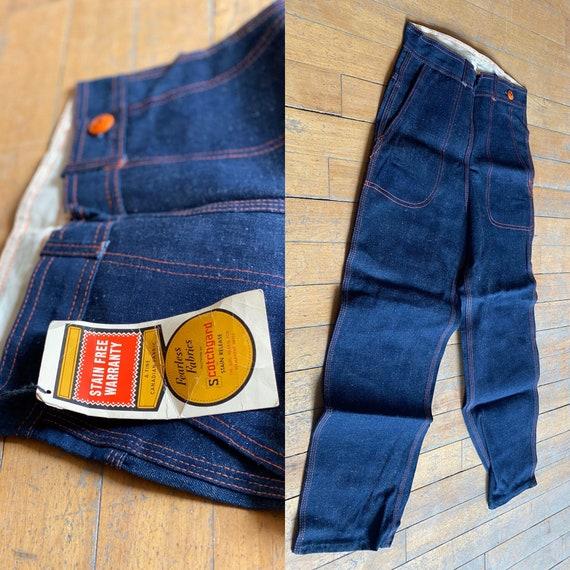 Deadstock Vintage 1950's | side zip denim trousers