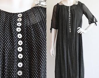 Vintage antique 1920s | Medium | Rare and delightful cotton batiste, polka dot Maternity dress.