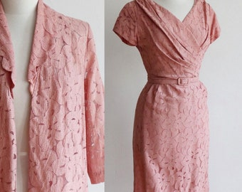 Vintage 1950s   Medium   lace wiggle dress and jacket set