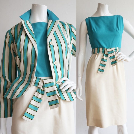 Size 16 Fully Lined L Vintage Pencil Skirt Plaid Ivory Teal and Purple John Meyer  Button Closure and Midi Length