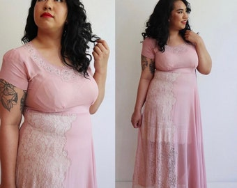 Vintage Volup 1940s | XL + | pink lilac sheer crepe gown with rhinestone embellishments