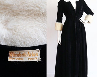 Vintage 1960s | M-L | Elizabeth Arden rayon velvet hostess gown with mink fur cuff