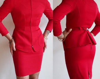 RARE 1980's   Thierry Mugler worsted wool vintage power suit in scarlet red   80's designer blazer and skirt   size 40 medium