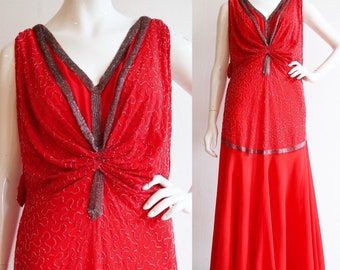 Vintage Antique Rare 1920s | Large | Silk chiffon beaded flapper gown