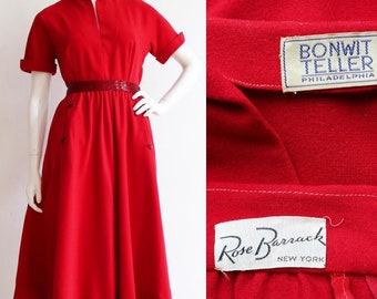 Vintage 1940s/1950s | Medium | Red hot, two piece wool ensemble with beaded details by Rose Barrack