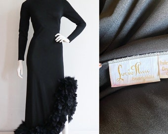 Vintage 1960s | S-M | Stunning jersey hourglass gown with marabou hem by Lucie Ann Beverly Hills.