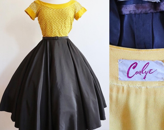 Featured listing image: Vintage 1940s | Small | Yellow and brown swing dress ensemble by Carlye with matching belt and jacket.