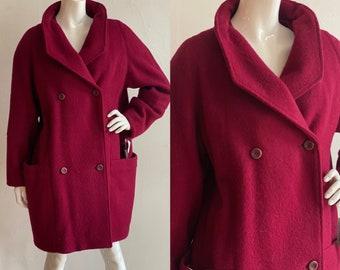 Vintage 1980's Deadstock   size XL   Hudson's Bay merlot wool coat