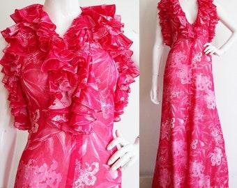 Vintage 1970s | Small | Deadstock cotton voile, bouquet halter maxi dress by designer Dorville at Michael Geary