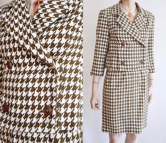 Vintage XS late 1950's | olive knit cotton houndst