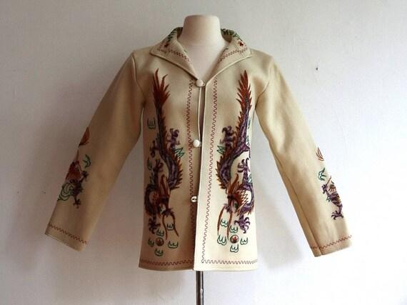 Vintage 1940s Wool Embroidered  Souvenir Jacket