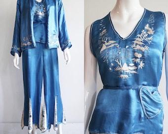 Antique RARE | size medium | late 1920s Chinese export | 4 piece silk palazzo pant lounge Pyjama set