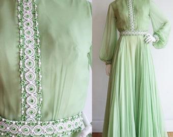 Vintage 1960s | Small | Elegant silk chiffon gown with beautiful beadwork, massive skirt