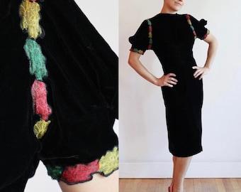 Vintage 1930s | Small | silk velvet cocktail dress with colourful floral lamé detail