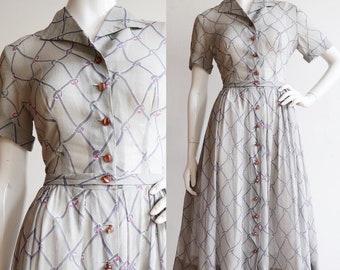 Vintage 1940s-1950s | M/L | Cotton voile day dress by Pat Premo