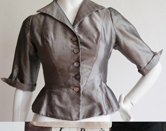 Vintage 1950s | Small | Jean Dessès gunmetal silk blazer