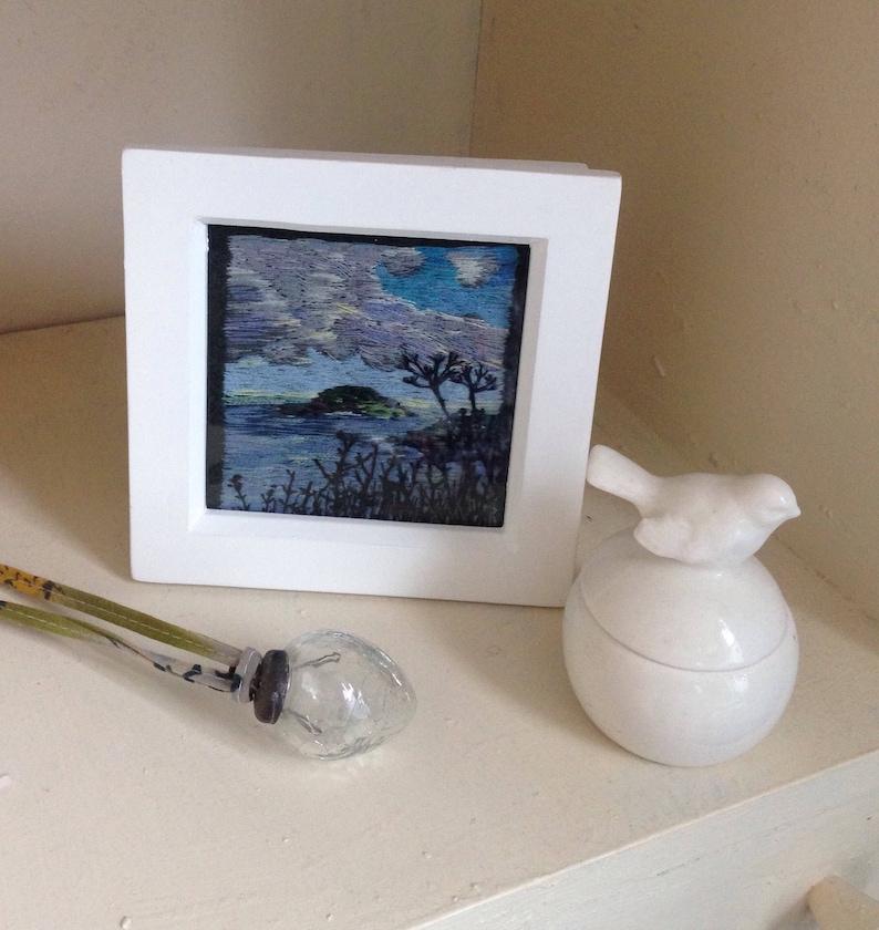 Cornwall Framed Hand Embroidered Thread Painting of Looe Island