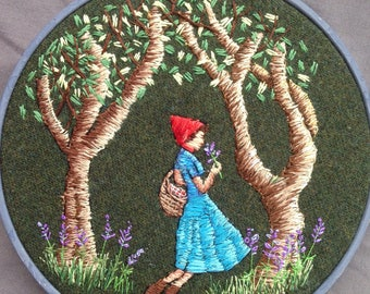 Little Red Riding Hood Hand Embroidered Thread Painting