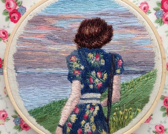 Woman and the Sea Hand Embroidered Thread Painting, Tankerton Beach, Sunset, Vintage Floral Dress, 1940s, WWII fashion
