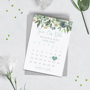 Fantasy Blue Floral Non-Personalised SAMPLE Save the Date Card on Chalkboard Card inc Envelope