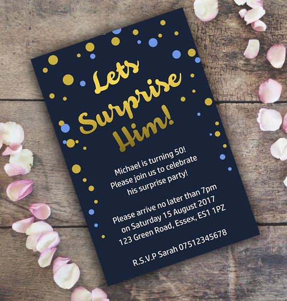 Surprise Birthday Invitation Personalised Invite Digital
