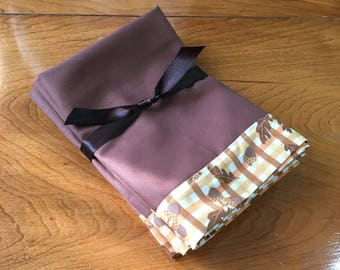 Set of 6 Autumn Plaid Cloth Napkins, one-of-a-kind