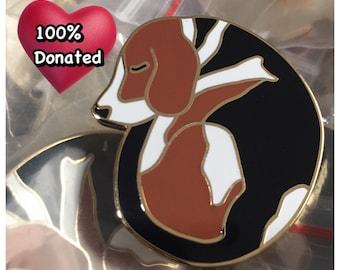 Sleeping Beagle Hard Enamel Pin  Cute Dog   Animal Charity   Hound Rescue   Fundraiser   Lapel Pin   Limited Edition   Cloissone Brooch