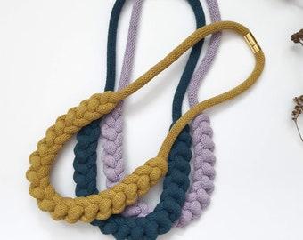 DOLAN Knotted Fiber Necklace / Macrame Necklace / Chainlink / Statement Necklace /