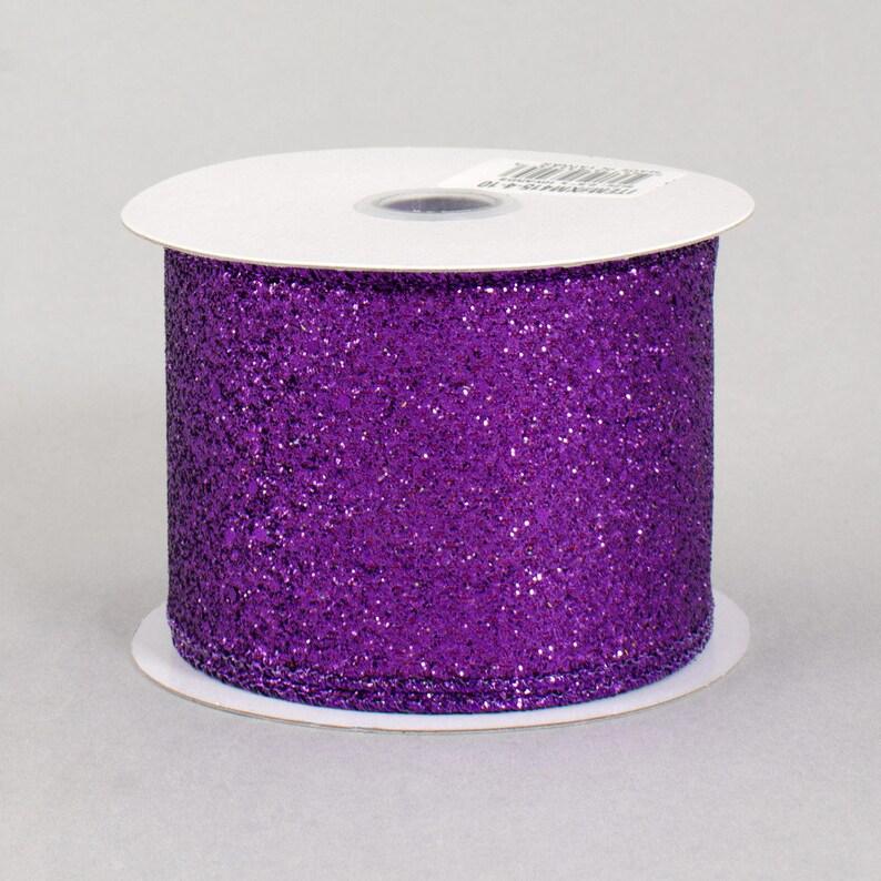 Ribbon 10 Yards Craft Supply Gift Box Decoration 2.5 Glitter On Metallic Ribbon Purple