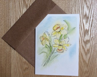 Yearning for Spring - Watercolor Greeting Card - Flowers, Daffodils, Illustration