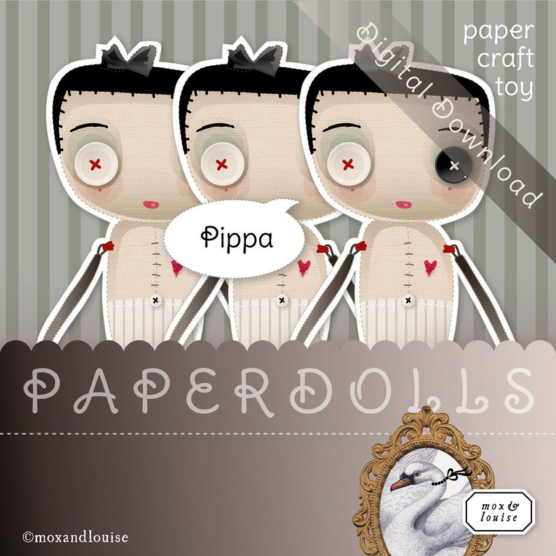 Digital Download milk and cookies a sleep mask and a bedroom Slumber Set Pippa a Mox /& Louise Paper Doll complete with nighties