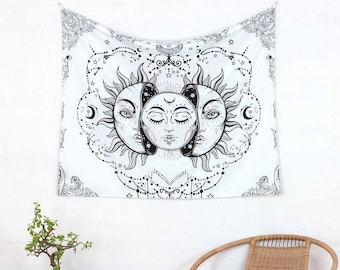 Tapestry sun and moon white and black approx. 75x100 cm, wall hanging made of 100% cotton, Indian tapestry from fair trade