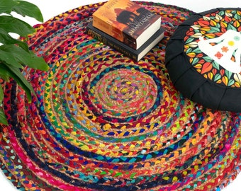 Round patchwork jute rug with recycled fabrics in different colors Ø 120 cm, all natural rug for your living area, fair trade from india