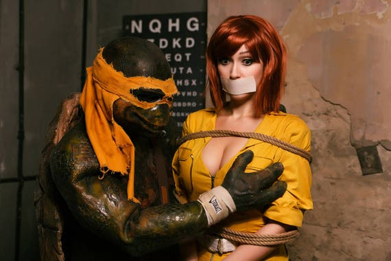 signed cosplay print april o neil and mikey 20x30cm etsy