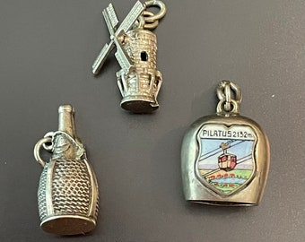 Vintage Rare Larger European Charms in Sterling 800 835 silver 1 Sterling 1960s each Sold Separately New Photos as of Aug 10