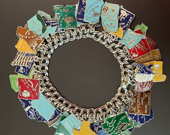 50 States DC and 2 USA Charms Bracelet Vintage 1960s with 53 Enameled Sterling Silver Charms