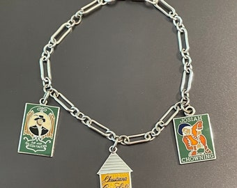 Vintage Sterling Silver Colonial Williamsburg 3 Enameled Tavern Charms from 1960s - IC marked